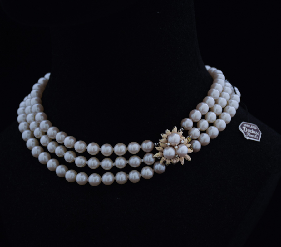 & 1950s Three strand costume pearl necklace | Twentieth Century