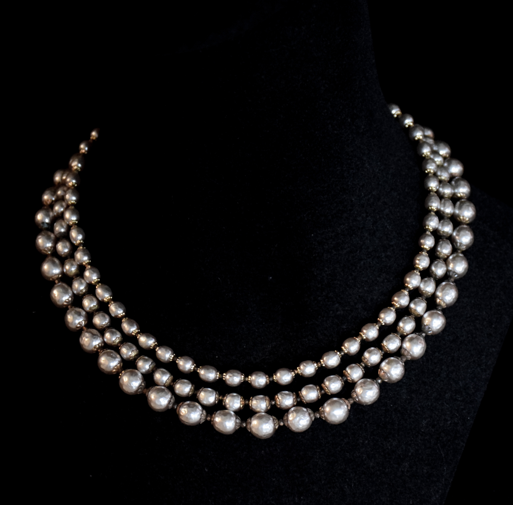 9602ef708ecaa Miriam Haskell 3 Strand Faux Pearl Necklace